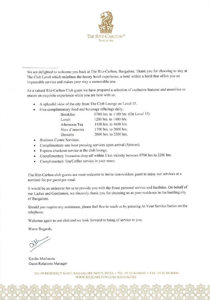 Ritz Carlton Bangalore Club Level Benefits